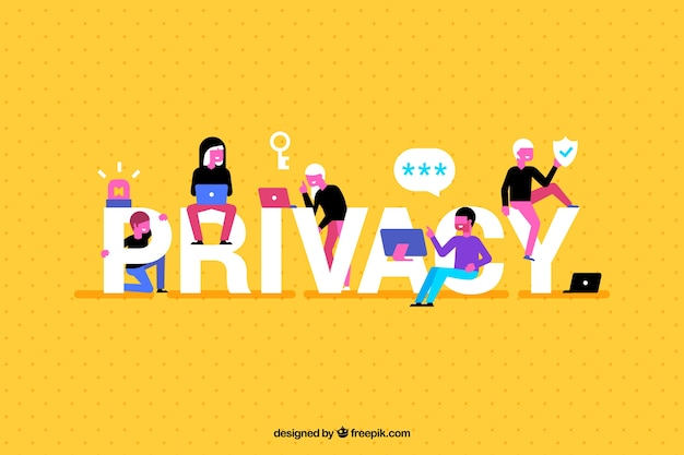 Yellow background with privacy word and fun people Free Vector