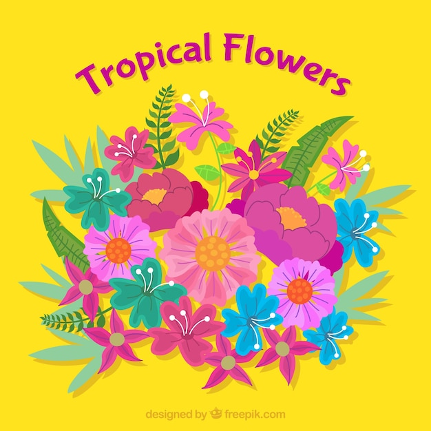 Yellow background with tropical flowers