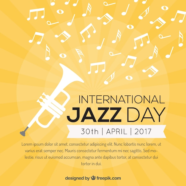 Yellow background with trumpet and musical notes Free Vector