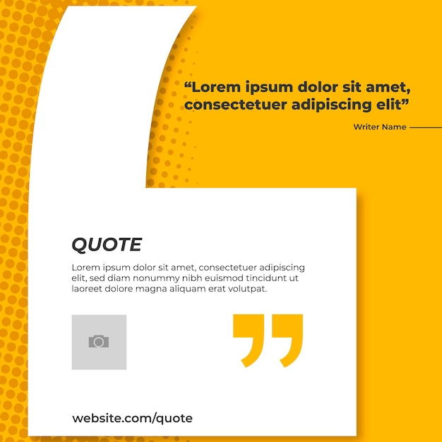 Желтый баннер для цитаты Бесплатные векторы