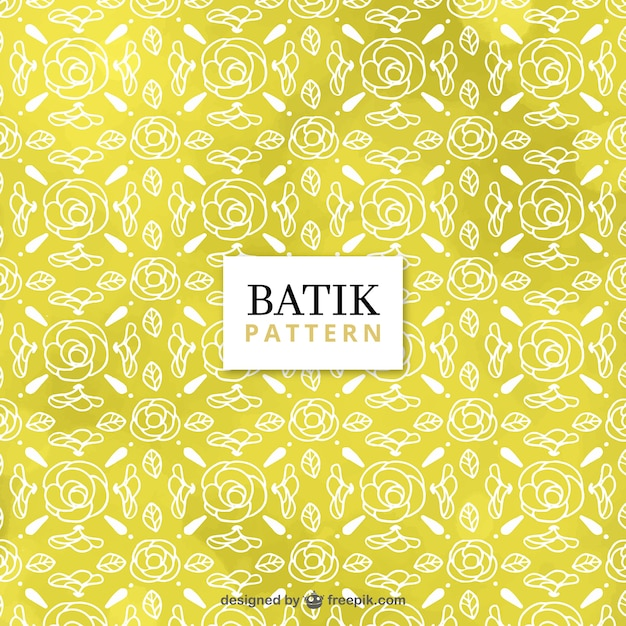 Yellow Batik Pattern With Sketches Of Roses Vector