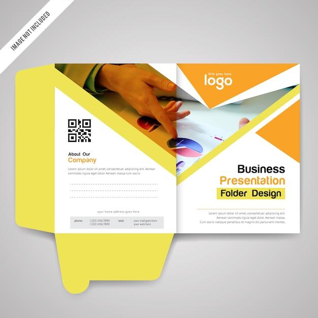 yellow bi fold presentation folder design template vector