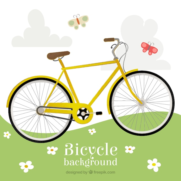 Yellow bike in the countryside\ background