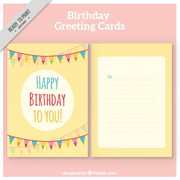 Yellow Birthday Card With Garlands Stock Images Page Everypixel
