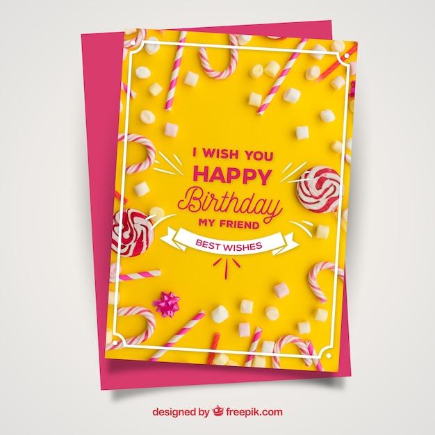 Yellow birthday card Free Vector