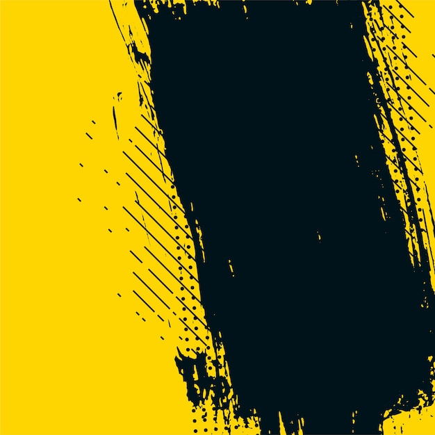 Yellow and black abstract grunge messy texture background Free Vector