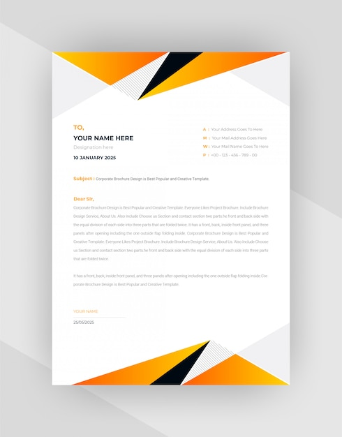 Yellow & black abstract letterhead template design. Free Vector