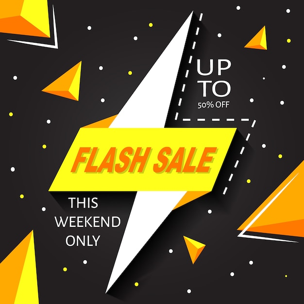 Yellow and black banner background flash sale 50 % off Premium Vector