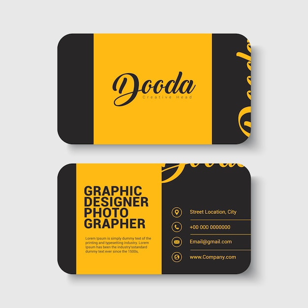 yellow black business card template vector premium download