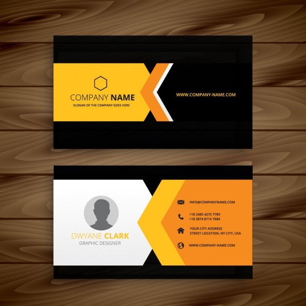 Yellow Black Business Card Free Vector