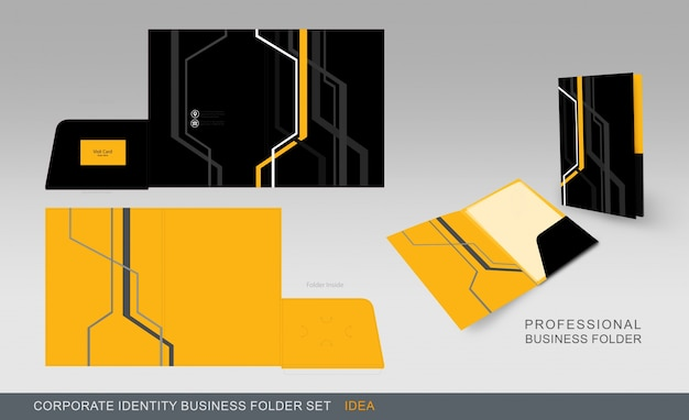 Yellow and black business folder Free Vector