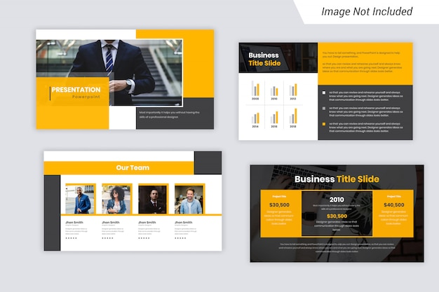 Yellow and black color business presentation slides design Premium Vector