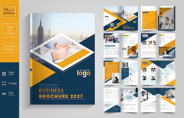 Yellow and black corporate business brochure Premium Vector
