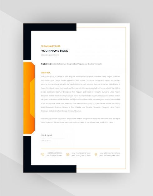 Yellow & black corporate letterhead template design. Free Vector