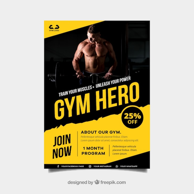 Yellow and black gym cover template with image Free Vector