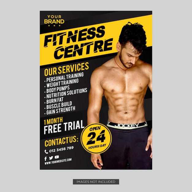 Yellow and black gym fitness flyer cover template design Premium Vector