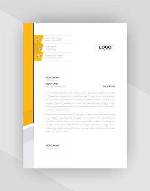 Желтый и черный бланк шаблон дизайна. Бесплатные векторы