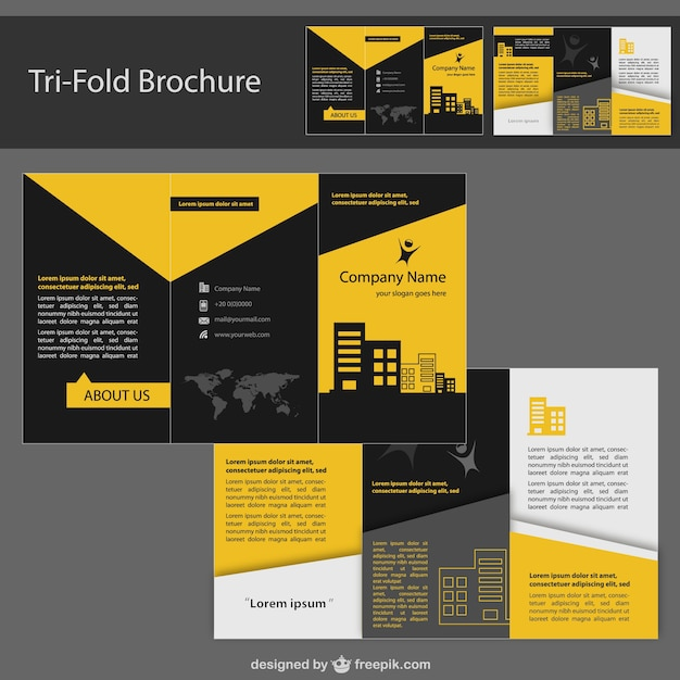 Yellow and black tri-fold brochure Free Vector