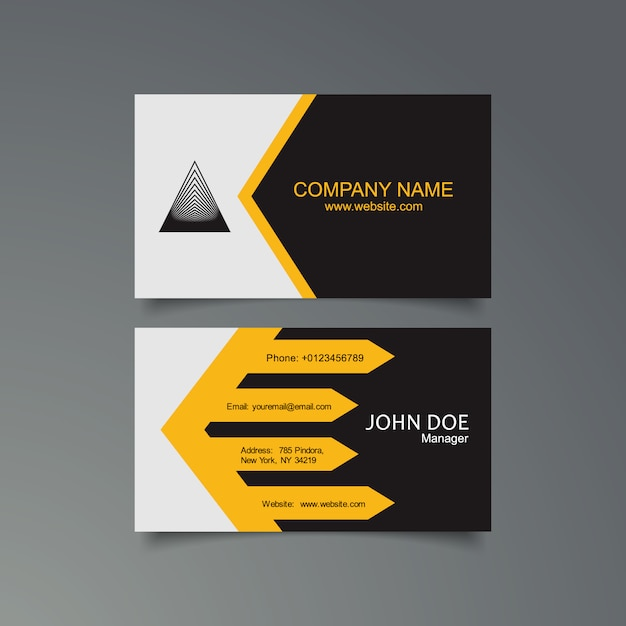 Yellow Black And White Business Card Template Vector Free Download
