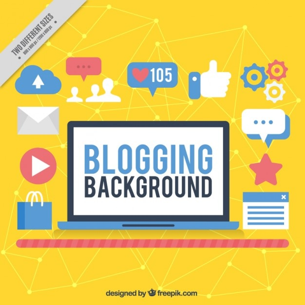 Yellow blogging background with icons Free Vector