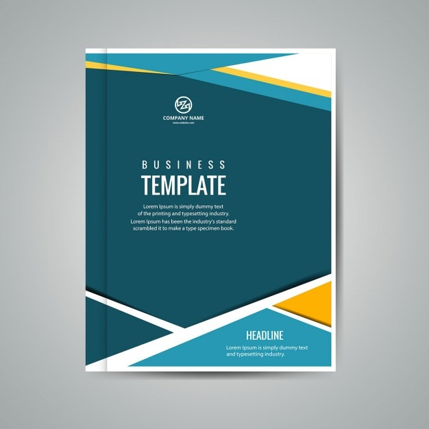 yellow blue and green business booklet vector free download