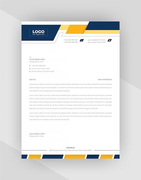 Yellow & blue corporate letterhead template design. Free Vector
