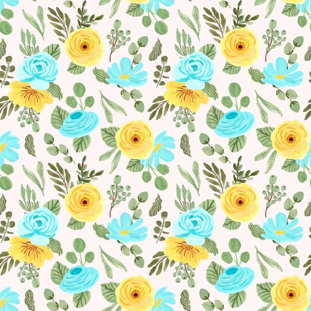 Yellow blue flower seamless pattern Premium Vector