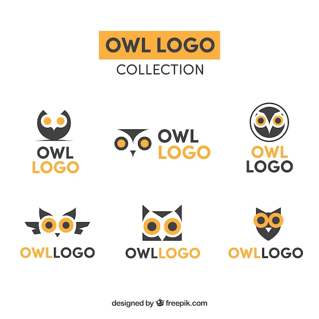 Yellow and blue owl logo collection Free Vector