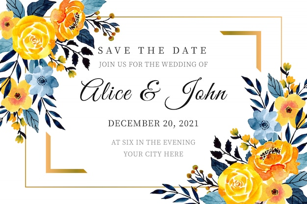 Yellow and blue wedding card template with floral watercolor Premium Vector