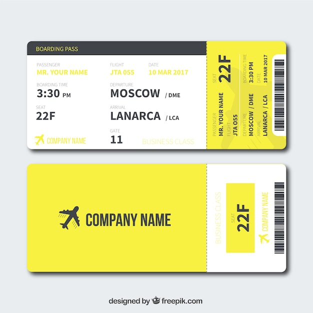 Yellow Boarding Pass In Flat Design  Airline Ticket Template Free