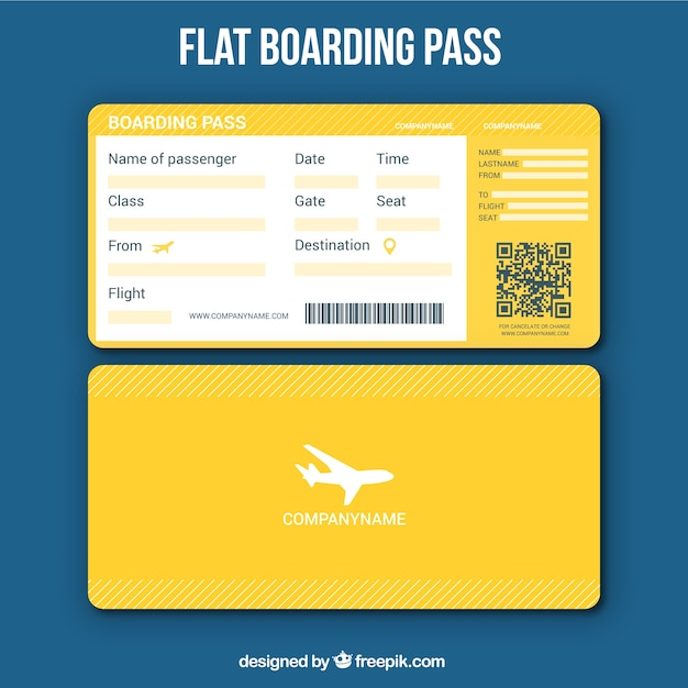 Yellow Boarding Pass Template Vector Free Download