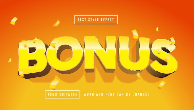 Yellow bonus text effect editable Premium Vector