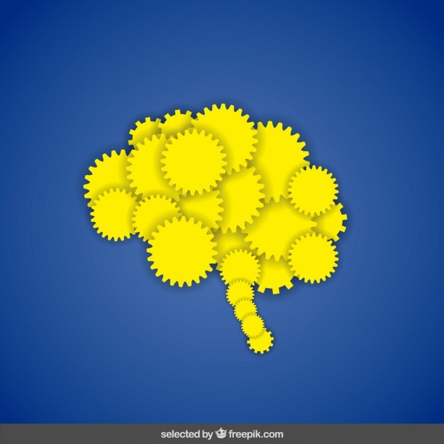 Yellow brain made with gears Free Vector
