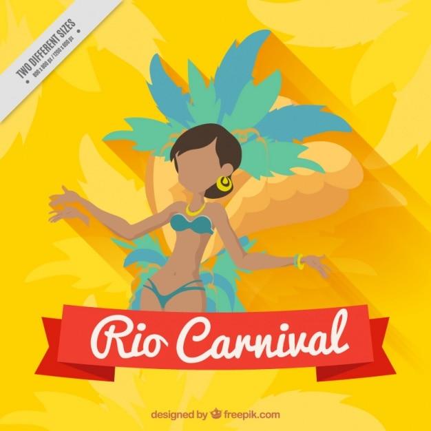 Yellow brazilian dancer background