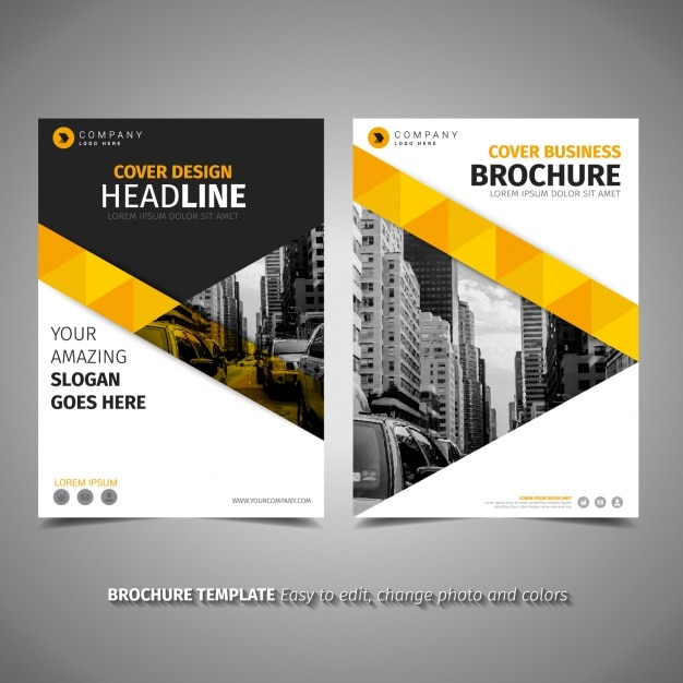 Yellow brochure template vector free download for Magazine cover template publisher