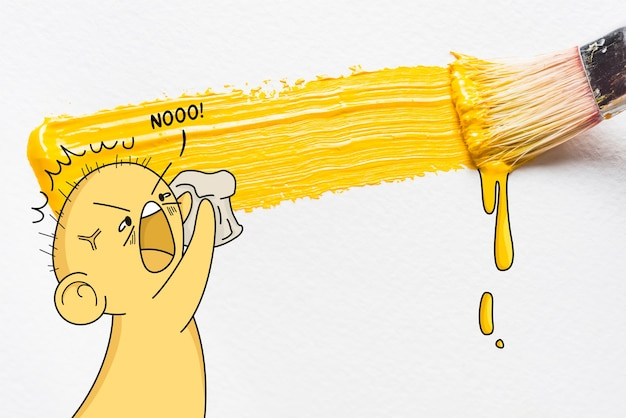 Yellow brush stroke and angry character funny illustration Free Vector