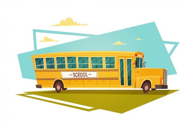 Yellow bus riding back to school Premium Vector