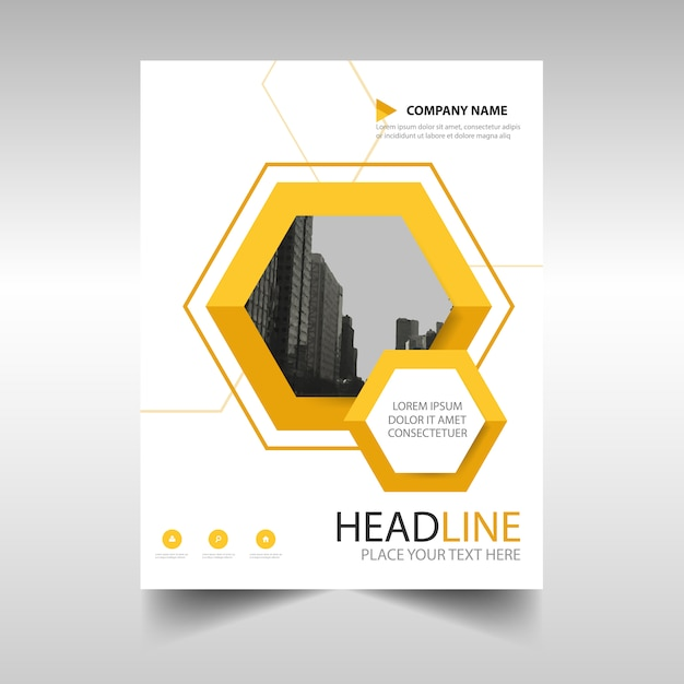 Yellow business brochure template with geometrical shapes Free Vector
