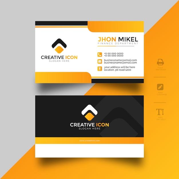 Yellow business card templete Premium Vector