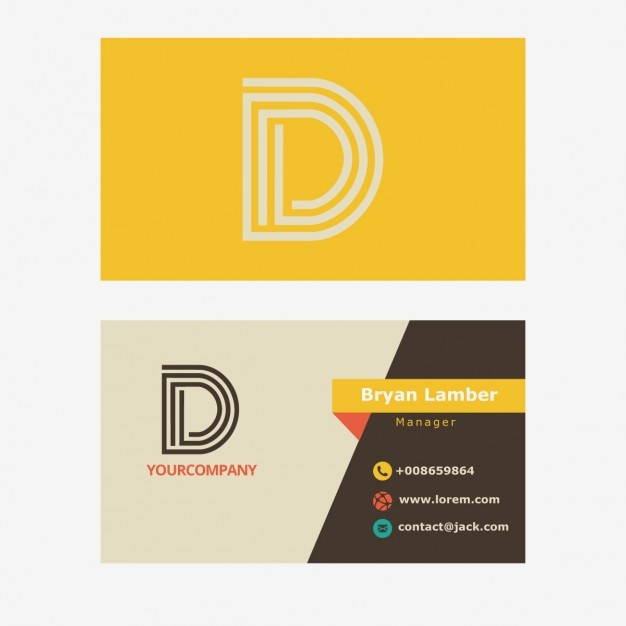 Yellow business card with d letter logo Free Vector