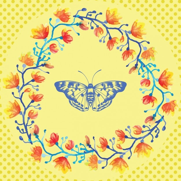 yellow butterfly background vector free download