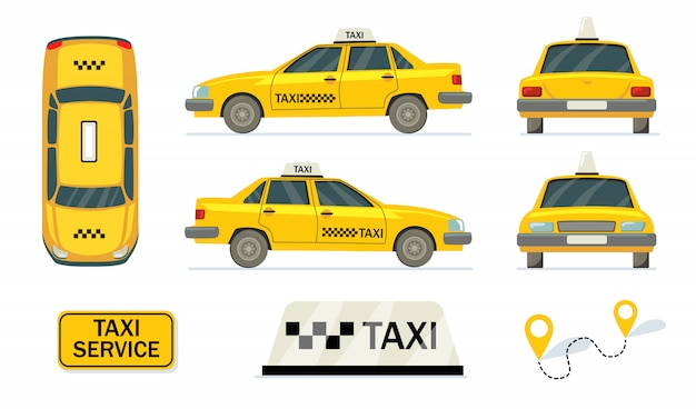 Yellow cabs set Free Vector