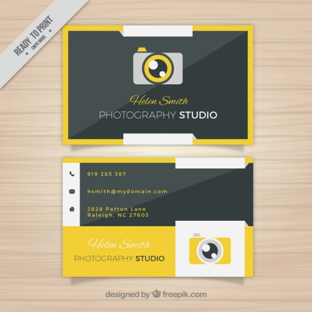 Yellow camera business card vector free download yellow camera business card free vector reheart Image collections