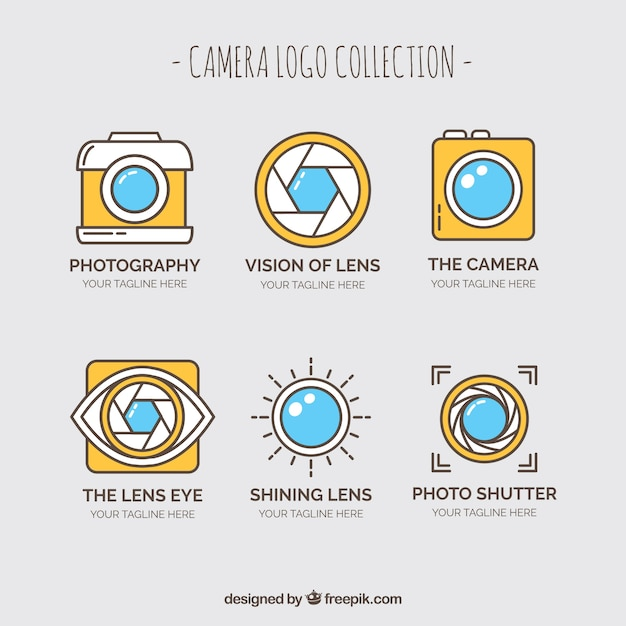 Yellow camera logo collection