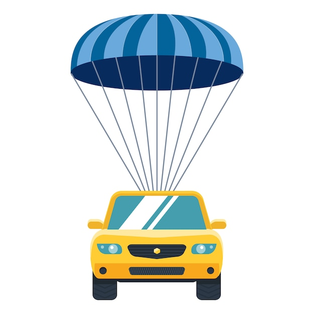Yellow car descends from heaven to earth by parachute. property insurance. Premium Vector