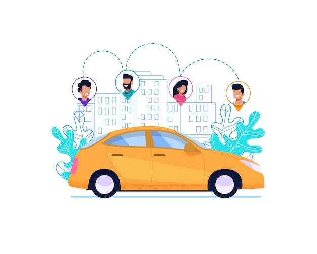 Yellow car on route in city. Premium Vector
