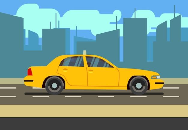 Желтый автомобиль такси в городской векторной иллюстрации Premium векторы