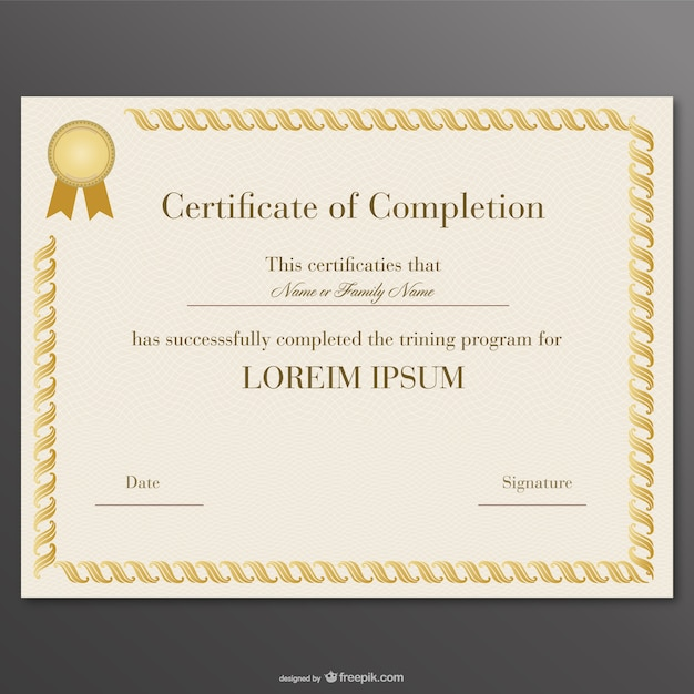 Yellow certificate of completion Free Vector