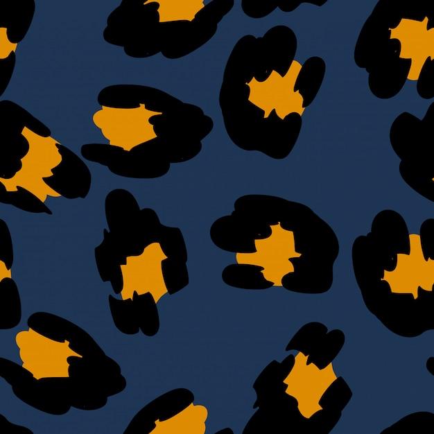 Yellow cheetah seamless pattern blue Premium Vector