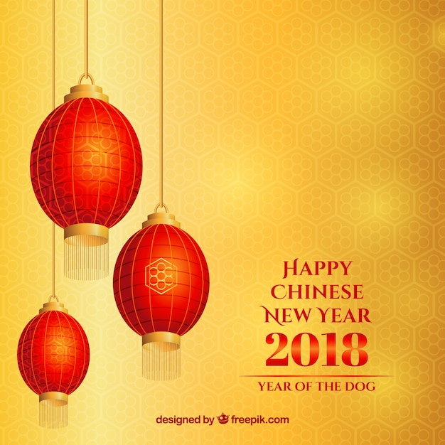 yellow chinese new year background with lanterns free vector